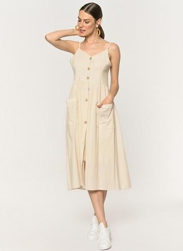 Loves You Astarlı Askılı Düğmeli Keten Elbise Bej